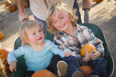 Cute Toddlers Enjoy a Day at the Pumpkin Patch Royalty Free Stock Photos
