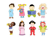 Cute toddlers are getting ready to sleep. This is a set of clip art cartoon images with different kids wearing pajamas and preparing to sleep Stock Image