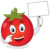 Cute Tomato Character Holding Banner Stock Photography