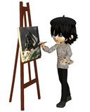 Cute Toon Artist Boy. With beret painting a ship on a stormy sea, 3d digitally rendered illustration Stock Photos