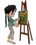 Cute Toon Artist Girl. With pigtails and beret painting sunflowers, 3d digitally rendered illustration Royalty Free Stock Photo