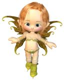 Cute Toon Auburn Hair Fairy. Cute toon fairy girl with auburn hair dressed in pink and green, 3d digitally rendered illustration Stock Image