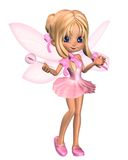 Cute Toon Ballerina Fairy in Pink - standing. 3D Digital render of a cute toon ballerina fairy in a pink tutu with gossamer wings and a wand, standing Royalty Free Stock Photos