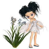 Cute Toon Black-Haired Forget-Me-Not Fairy. Fantasy illustration of a cute toon forget-me-not flower fairy with black hair, 3d digitally rendered illustration vector illustration