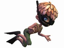 Cute Toon Boy- Dive. 3 D Render of an Cute Toon Boy Royalty Free Stock Images