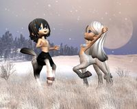Cute Toon Centaurs playing in the snow Stock Photos