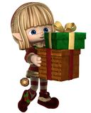 Cute Toon Christmas Elf Carrying Presents Royalty Free Stock Photography