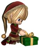 Cute Toon Christmas Elf Wrapping a Present Stock Images