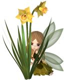 Cute Toon Daffodil Fairy, Hiding. Cute toon daffodil fairy in green and yellow dress hiding behind spring daffodil flowers, 3d digitally rendered illustration Stock Image