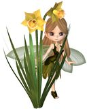 Cute Toon Daffodil Fairy, Skipping Stock Photography