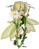 Cute Toon Daisy Fairy, Skipping. Cute toon blonde fairy in leaf and petal dress with green wings, skipping past white and yellow daisy flowers, 3d digitally Stock Images