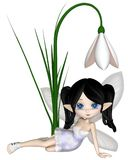 Cute Toon Dark Haired Snowdrop Fairy, Sitting. Cute toon dark haired snowdrop fairy in a white snowflake dress sitting by a spring snowdrop flower, 3d digitally Royalty Free Stock Photos