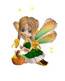 Cute Toon Easter Fairy - 2. 3D digital render of a cute toon easter fairy with a basket of eggs and chocolate bunny stock illustration