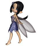 Cute Toon Fairy in Blue Flower Dress Stock Photo