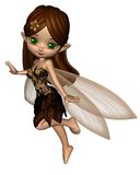 Cute Toon Fairy in Brown and Gold Flower Dress Royalty Free Stock Images