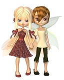 Cute Toon Fairy Friends. Cute toon fairy boy and girl holding hands, 3d digitally rendered illustration vector illustration