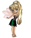 Cute Toon Fairy in Green and Purple Flower Dress Stock Images