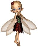 Cute Toon Fairy in Green and Red Flower Dress Stock Photo
