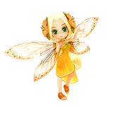Cute toon fairy wearing orange flower dress with flowers in her hair posing on a white  background. Royalty Free Stock Photos