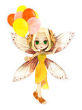 Cute toon fairy with wings smiling holding balloon's on a white  background. Stock Photo
