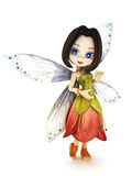 Cute toon fairy with wings smiling on a white background. Part of a little fairy series stock illustration