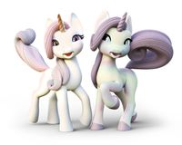Cute toon fantasy unicorn`s on an isolated white background. 3d rendering stock illustration
