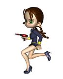 Cute Toon Female Starship Officer - running Stock Photos