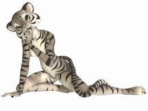 Cute Toon Figure - White Tiger Stock Photo