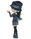 Cute Toon Girl with a Blue Hat - Turning Stock Images