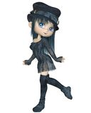 Cute Toon Girl with a Blue Hat - Walking Royalty Free Stock Image