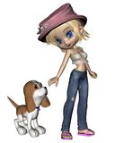 Cute Toon Girl and Puppy - 1 Stock Photos