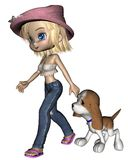 Cute Toon Girl and Puppy - 2 Royalty Free Stock Photos
