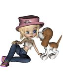 Cute Toon Girl and Puppy - 3 Royalty Free Stock Photo