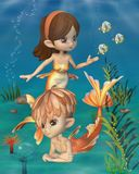 Cute Toon Goldfish Merpeople Scene Stock Photos