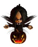 Cute Toon Halloween Fairy and Pumpkin Lantern - kn Stock Image