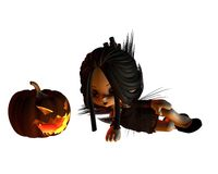 Cute Toon Halloween Fairy and Pumpkin Lantern - ly Stock Photos