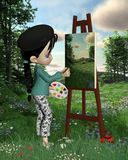 Cute Toon Landscape Artist Girl. Cute toon artist girl with pigtails and beret painting a countryside landscape outdoors, 3d digitally rendered illustration Stock Photography