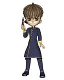 Cute Toon Male Starship Officer - standing Stock Images