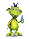 Cute toon monster with toothbrush and toothpaste Royalty Free Stock Photography