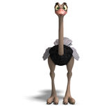 Cute toon ostrich gives so much fun. 3D rendering with clipping path and shadow over white Stock Photography
