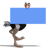 Cute toon ostrich gives so much fun. 3D rendering with clipping path and shadow over white Stock Photos