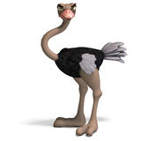 Cute toon ostrich gives so much fun. 3D rendering with clipping path and shadow over white Stock Photo