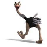 Cute toon ostrich gives so much fun. 3D rendering with clipping path and shadow over white Royalty Free Stock Images