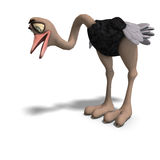 Cute Toon Ostrich Gives So Much Fun Stock Image