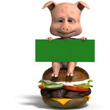Cute toon pig invites to a burger party. 3D rendering with clipping path and shadow over white Royalty Free Stock Photo