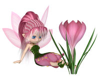 Cute Toon Pink Crocus Fairy, Sitting by a Flower Stock Photography