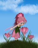 Cute Toon Pink Crocus Fairy on a Sunny Spring Day. Cute toon fairy in leaf and pink petal dress looking at a spring crocus flower on a sunny spring day, 3d Royalty Free Stock Images