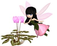 Cute Toon Pink Cyclamen Fairy, Flying. Cute toon dark haired fairy in leaf and petal dress with pink wings, flying towards pink cyclamen flowers, 3d digitally stock illustration