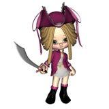 Cute Toon Pirate - female. Digital render of a cute toon pirate girl Stock Image