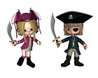 Cute Toon Pirates. Digital render of two cute toon pirates royalty free illustration
